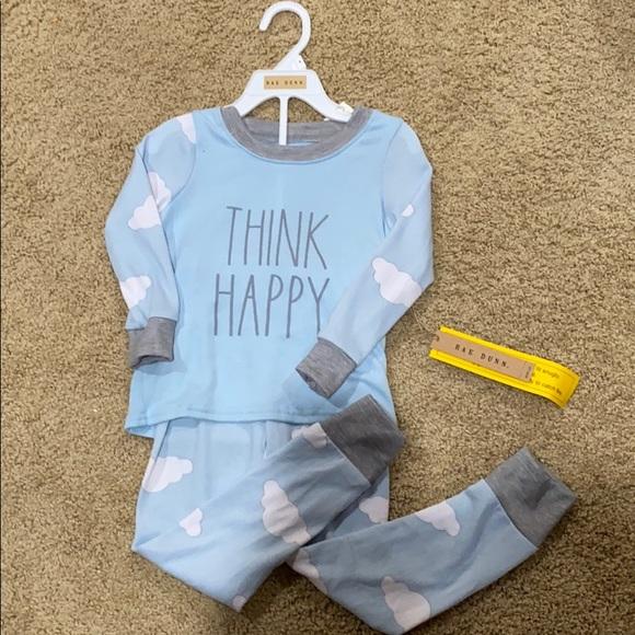"NWT Rae Dunn ""think happy"" cloud pajamas"